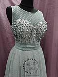 Вечірня випускна сукня розшита намистинами сіра з пудровим, фото 2