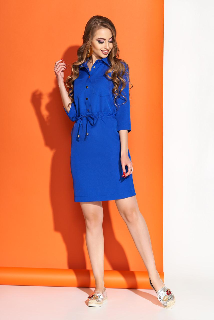 Весеннее платье выше колен свободного кроя пояс с воротником рукав три четверти электрик