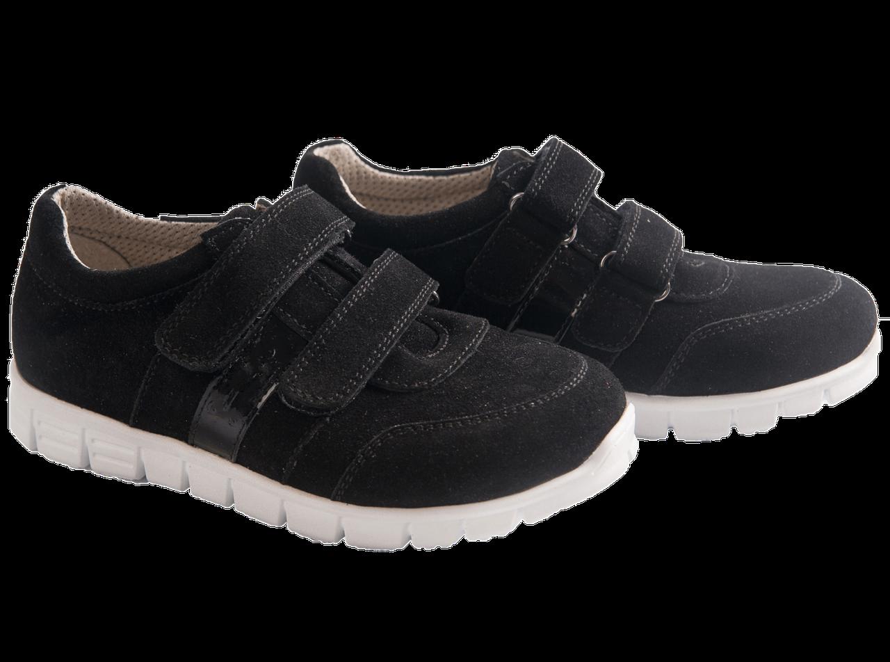 Кроссовки на липучках 600-Black со съемной стелькой (Нубук), размер 40