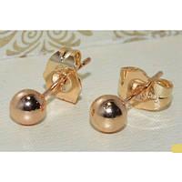 Серьги-гвоздики Зеркальные шарики d-7 мм, медзолото, медицинское золото