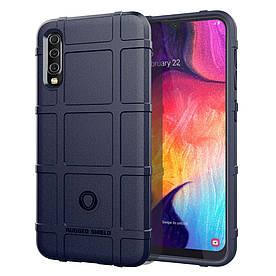 Чехол накладка для Samsung Galaxy A50 A505FD силиконовый, Square Grid, темно-синий