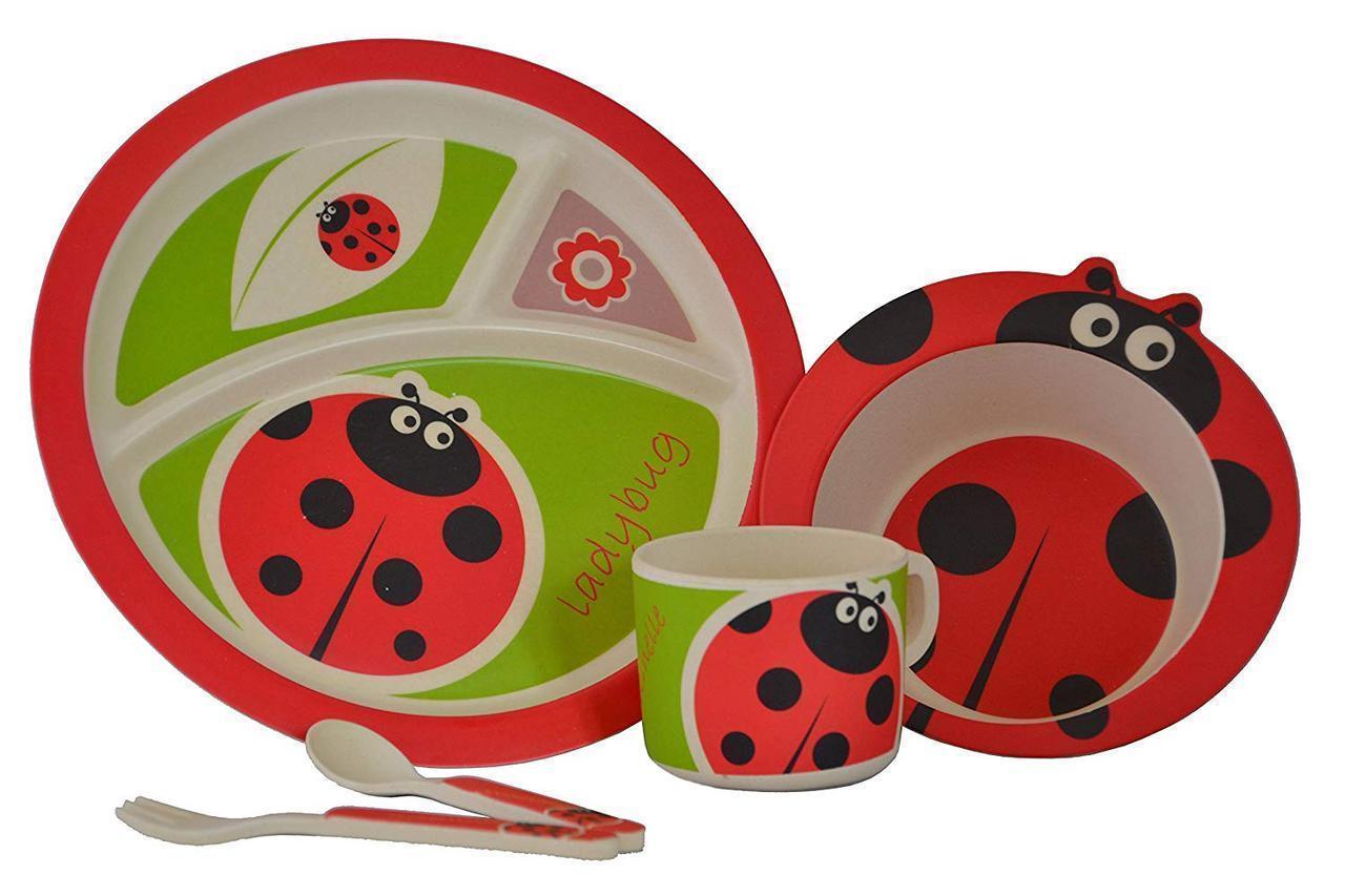 Набор детской бамбуковой посуды Eco Bamboo 5 предметов MH-2771 красный, божья коровка