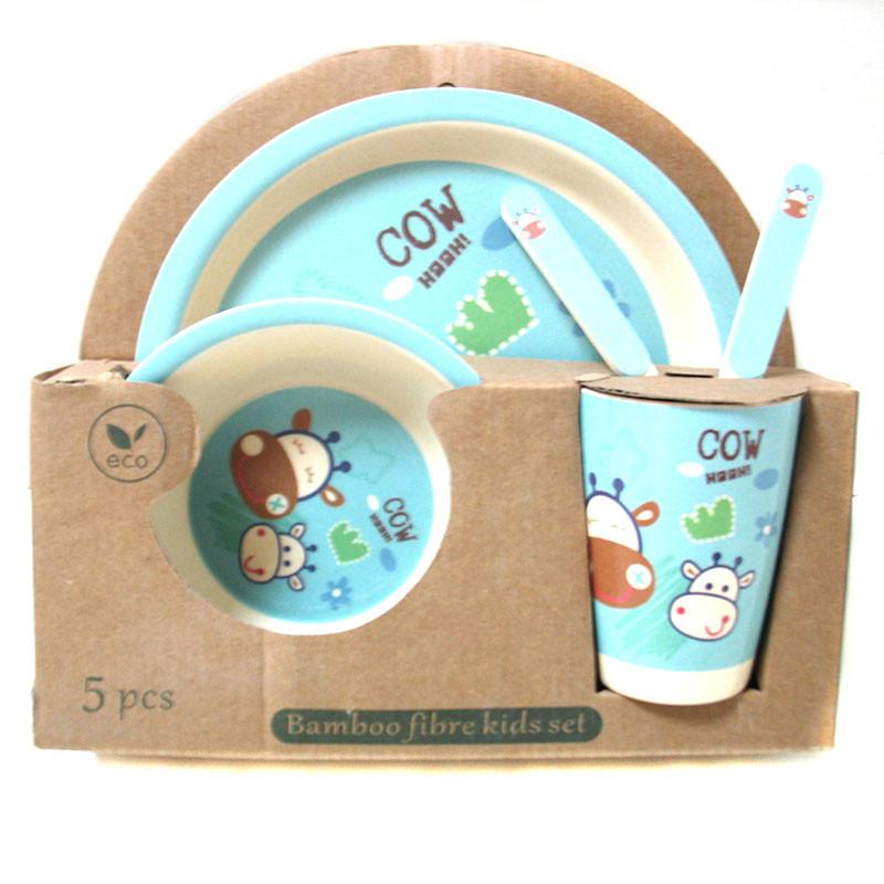 Набор детской бамбуковой посуды Eco Bamboo 5 предметов MH-2772 голубой, коровка