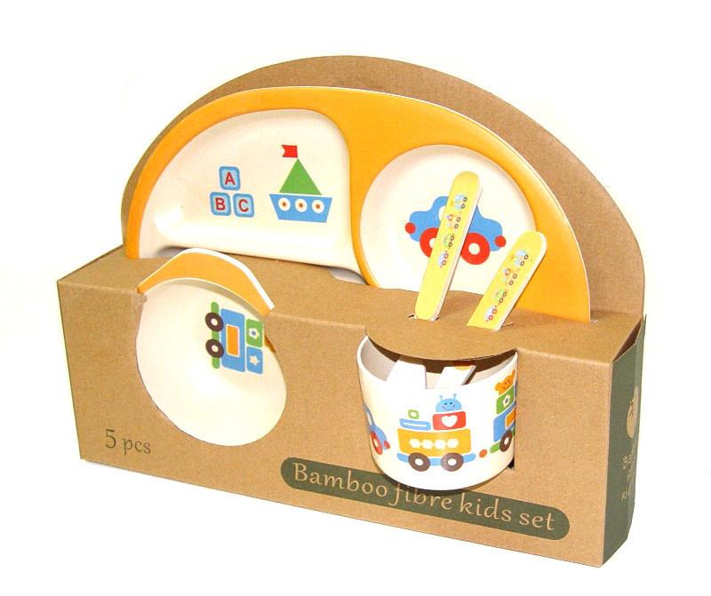 Набор детской бамбуковой посуды Eco Bamboo 5 предметов MH-2773 оранжевый, поезд