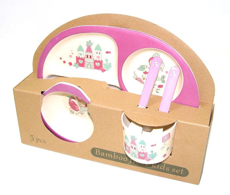 Набор детской бамбуковой посуды Eco Bamboo 5 предметов MH-2773 фиолетовый, русалка