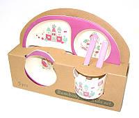 Набор детской бамбуковой посуды Eco Bamboo 5 предметов MH-2773 фиолетовый, русалка, фото 1