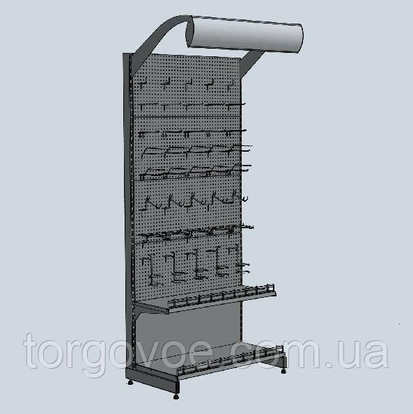 Стеллаж новый торговый с перфорированной панельной стенкой для крючков в магазин, фото 1
