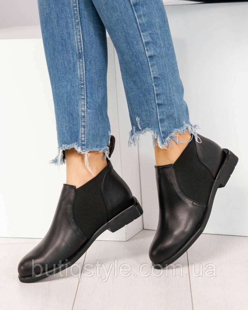 Весенние ботинки женские Челси черные натуральная кожа