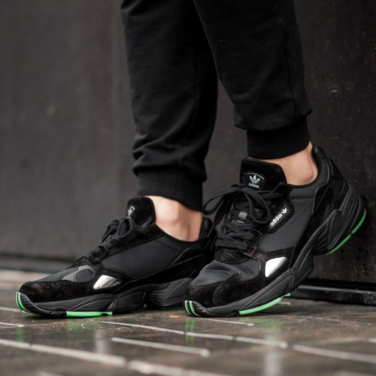 Мужские кроссовки Adidas  Falcon black (Реплика ААА+)
