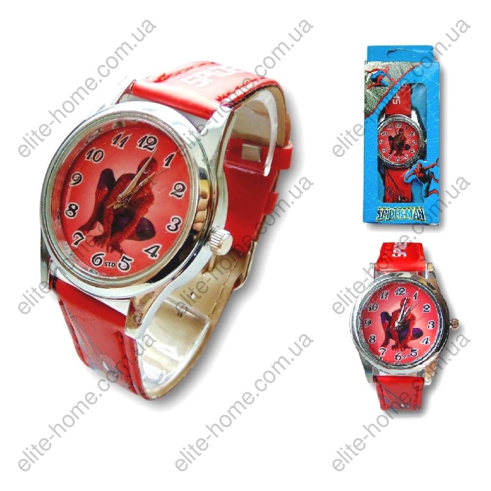 """Дитячі наручні годинники """"Spiderman"""" в подарунковій упаковці (червоний ремінець, 2вида)"""