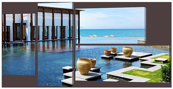 Модульная картина Interno Эко кожа Вилла на побережье 102x54см (A765S)