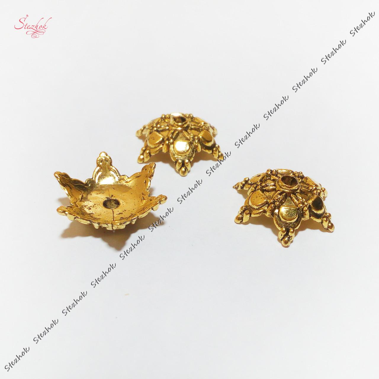 Акриловые шапочки для бусин 18 мм античное золото для рукоделия