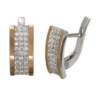 Серебряные серьги Аркадия с золотыми накладками и фианитами - 140775