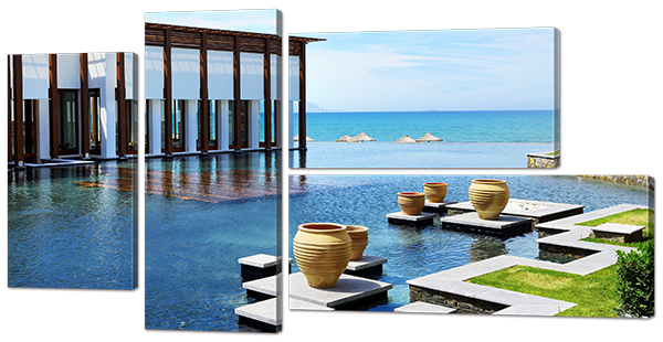 Модульная картина Interno Эко кожа Вилла на побережье 159x85см (A765XL)