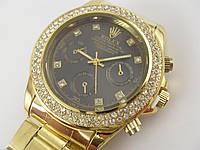 Женские часы Rolex 013127 золотистые с черным циферблатом копия, фото 1