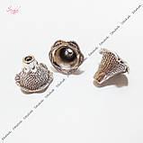 Металлические конусы для бусин 22х17 мм античное серебро для рукоделия, фото 2