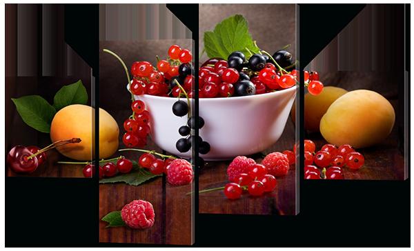 Модульная картина Interno Эко кожа Ягоды и фрукты 121x69см (A572М)