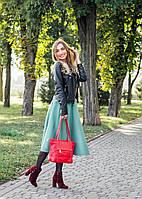 Кожаная сумка модель 30 красный флотар, фото 1