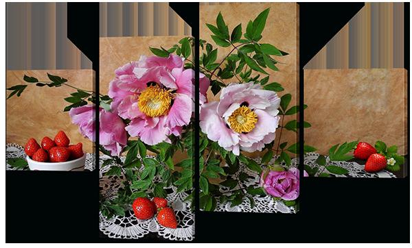 Модульная картина Interno Холст Клубника и цветы 106x60см (R574S)