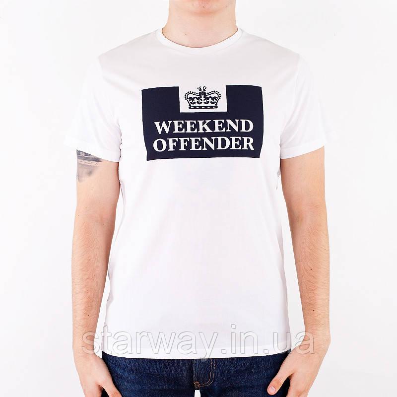 Футболка белая weekend offender logo   топ