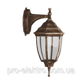 Светильник парковый RIGHT HAUSEN (метал/антич.золото) 6 округлых граней 60W E27 ВНИЗ HN-193018