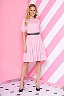 Модное платье юбка солнце клеш рукав короткий с кружевами розовое