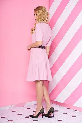 Модное платье юбка солнце клеш рукав короткий с кружевами розовое, фото 2