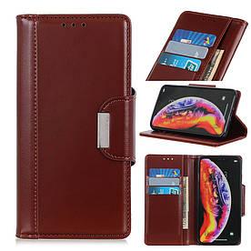 Чехол книжка для Samsung Galaxy A10 A105FD боковой с отсеком для визиток и магнитной застежкой, коричневый