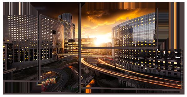 Модульная картина Interno Холст Закат в городе 182x98см (R768XXL)