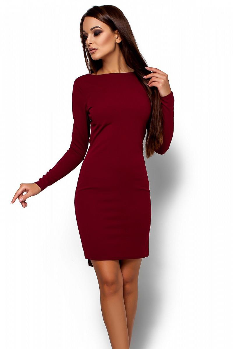 (S, M, L) Вечірнє марсалове плаття з відкритою спиною Amarino