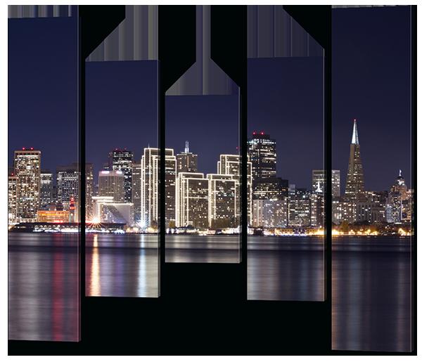 Модульная картина Interno Холст Скайлайн Ночь 108х89см (R580S)