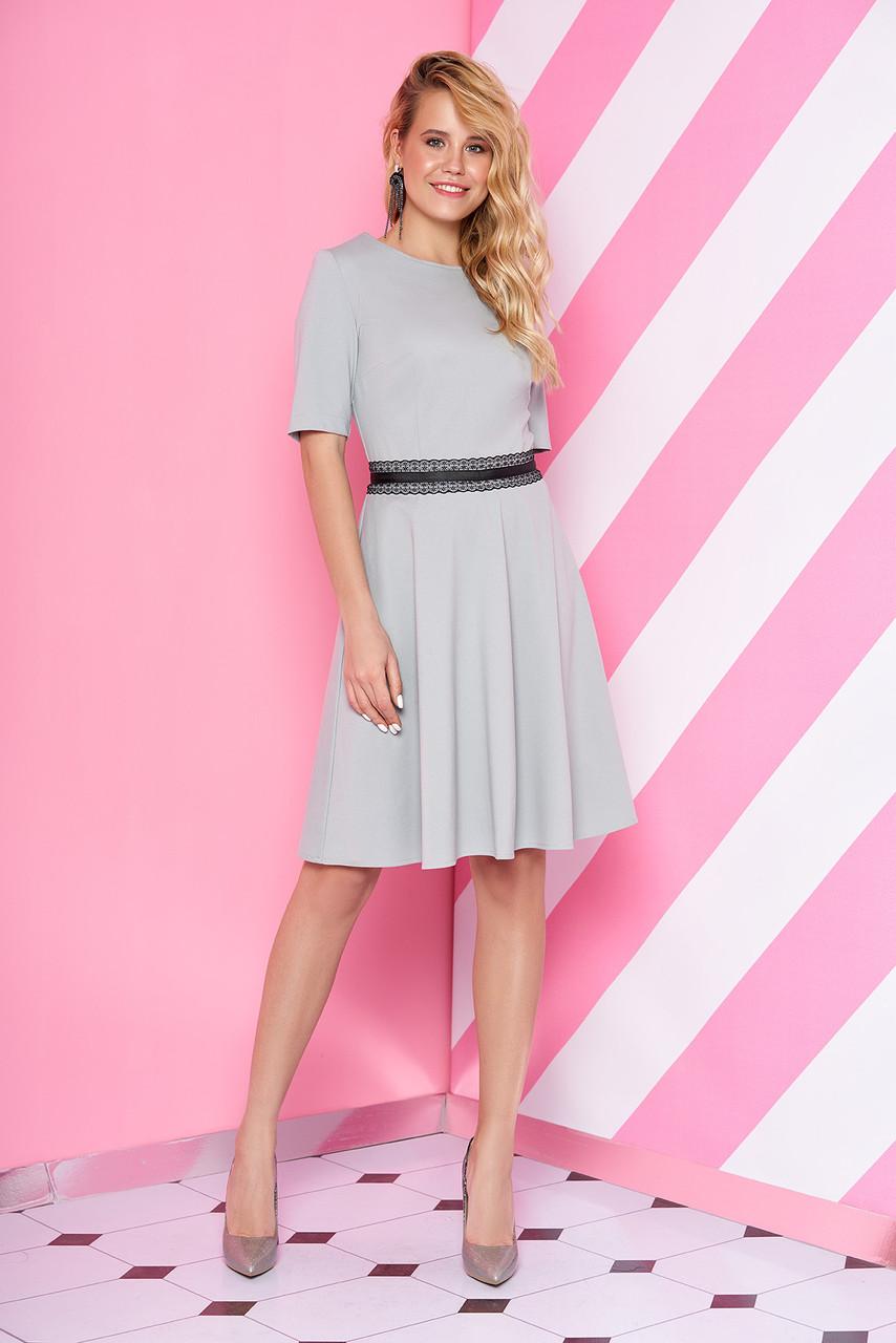 Стильное платье короткое юбка солнце клеш рукава короткие кружева цвет мята