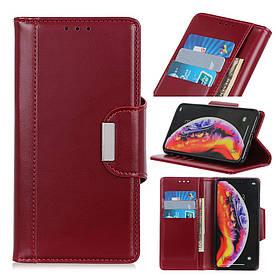 Чехол книжка для Samsung Galaxy A10 A105FD боковой с отсеком для визиток и магнитной застежкой, красный