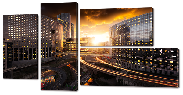 Модульная картина Interno Эко кожа  Закат в городе 182x98см (A768XXL)