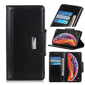Чехол книжка для Samsung Galaxy A10 A105FD боковой с отсеком для визиток и магнитной застежкой, черный