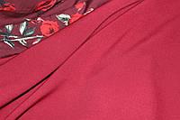 Бордо. Ткань креп костюмка барби однотонная №315, фото 1
