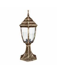 Светильник парковый RIGHT HAUSEN (металл/античное золото) 6 округлых граней 60W E27 НА ПОДСТАВКЕ HN-193048