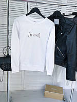 """Женский свитшот стильный однотонный с надписью """"Be kind"""" в белом цвете"""