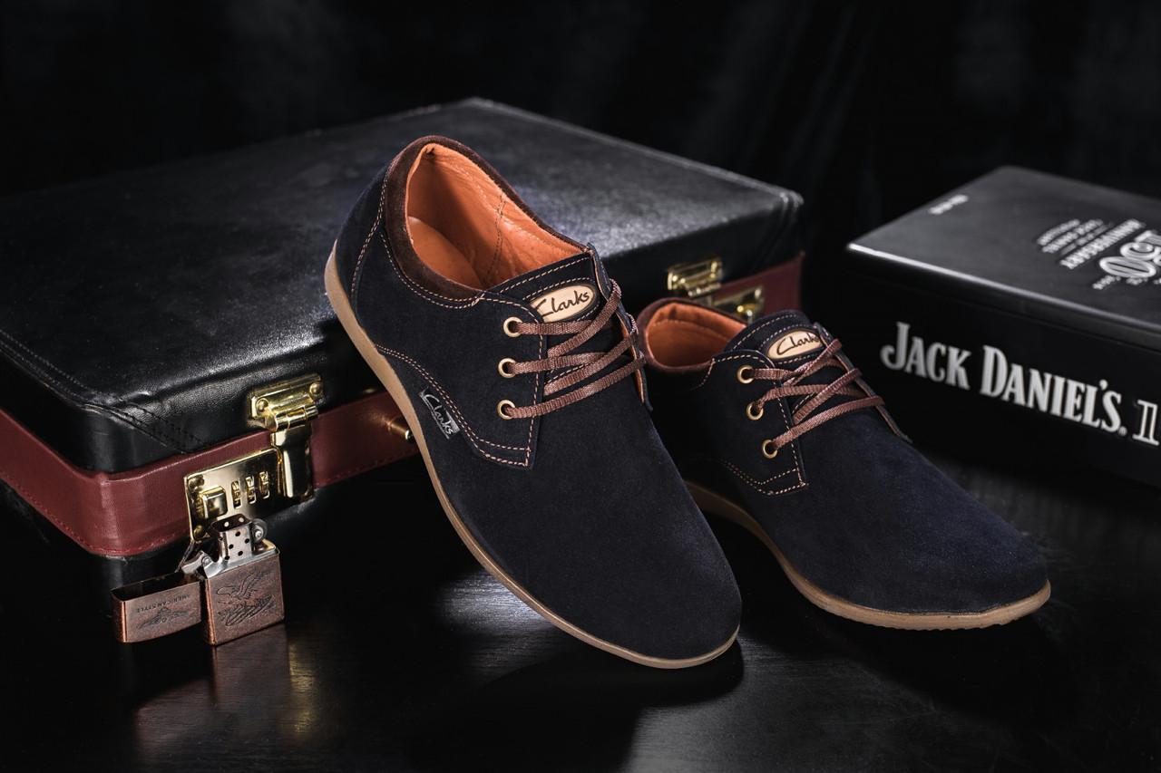 Подростковые замшевые туфли в стиле Clarks темно-синего цвета