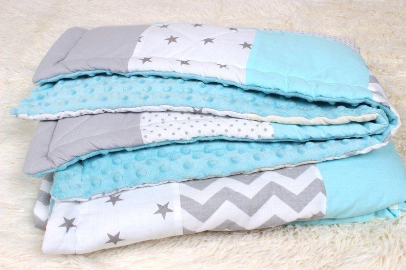 Детское теплое одеяло в Нежно голубых тонах