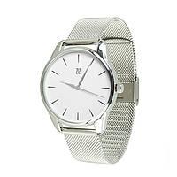 Часы Ziz Черным по белому, ремешок из нержавеющей стали серебро и дополнительный ремешок - 142795
