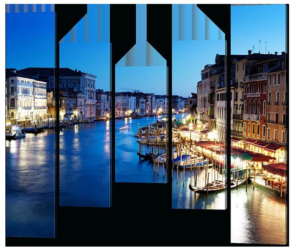 Модульная картина Interno Эко кожа Венецианская ночь 129х107см (А581M)