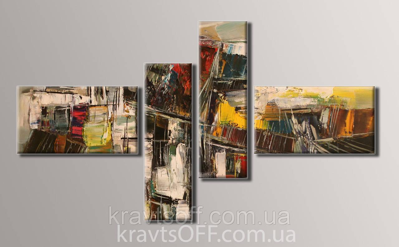 "Модульная картина на холсте из 4-х частей ""Абстракция"" ( 68х121 см )"
