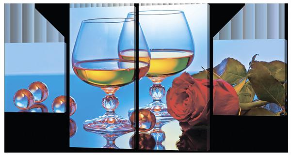 Модульная картина Interno Холст Белое вино и роза 106x56см (R582S)