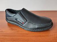Туфлі мокасини чоловічі зручні чорні прошиті (код 3491), фото 1