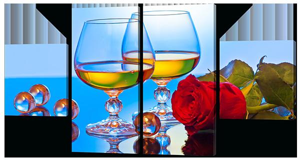 Модульная картина Interno Эко кожа Белое вино и роза 106X56см (A582S)