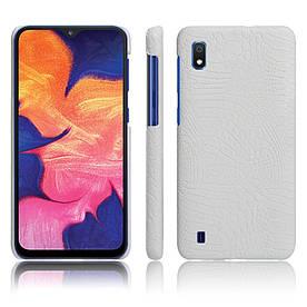 Чехол накладка для Samsung Galaxy A10 A105FD с кожаной поверхностью, Крокодиловая кожа, белый