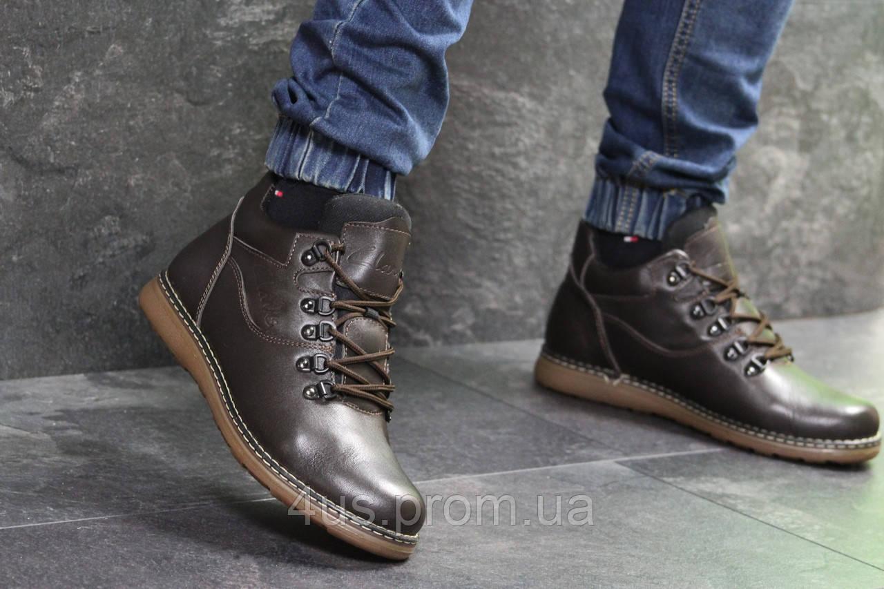 57457c2a Мужские ботинки зимние коричневые Clarks 6992 (чоловічі ботінки взуття  молодежные модная зимові) - ☎