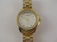 Женские часы Chanel (Шанель) 013133 золотистые с белым циферблатом