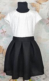 Платье для девочки  Эльза в складку  р.134-152 черный +белый